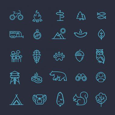 Camping, Forest, Nature and Outdoor Activities icons