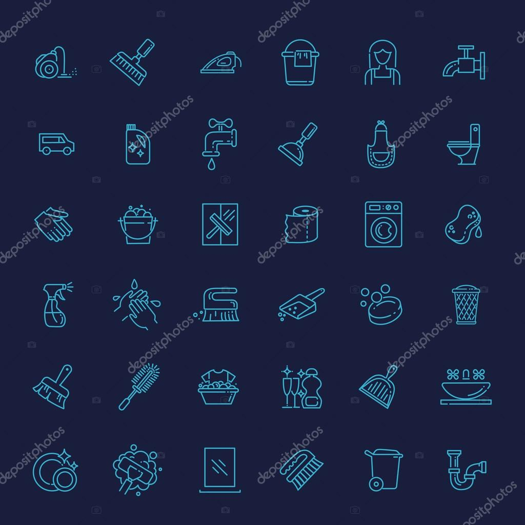vector outline cleaning icon