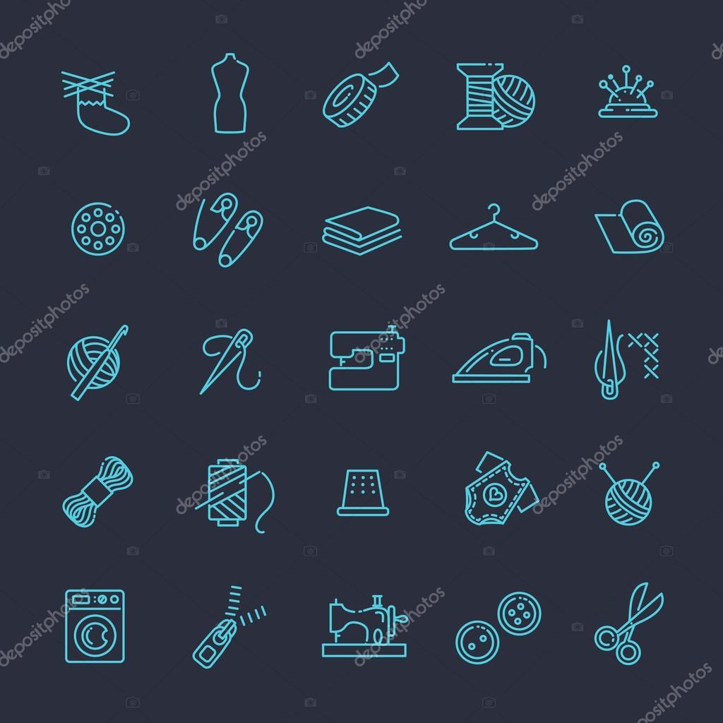 Nähen Handarbeiten und mehr Symbole festlegen — Stockvektor ...
