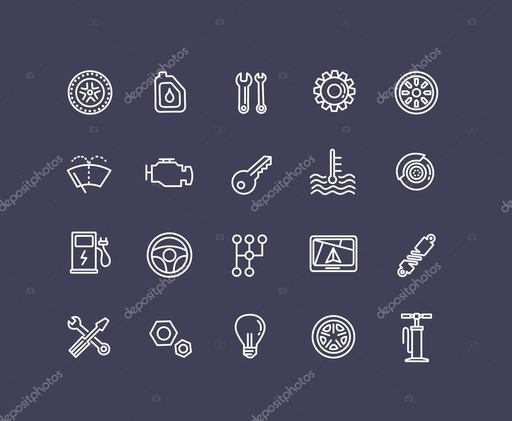 Gliederung-Symbole. Autoteile und Service — Stockvektor © tettygreen ...