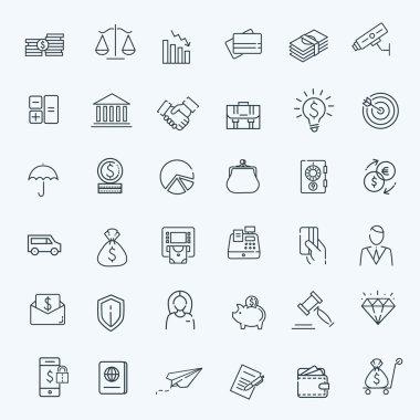 Thin line web icon set - money, finance, payments