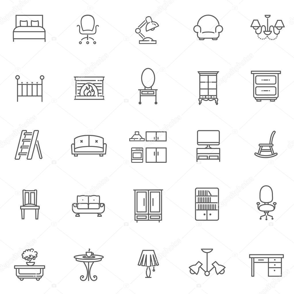 Furniture and home decor icon set \u2014 Stock Vector