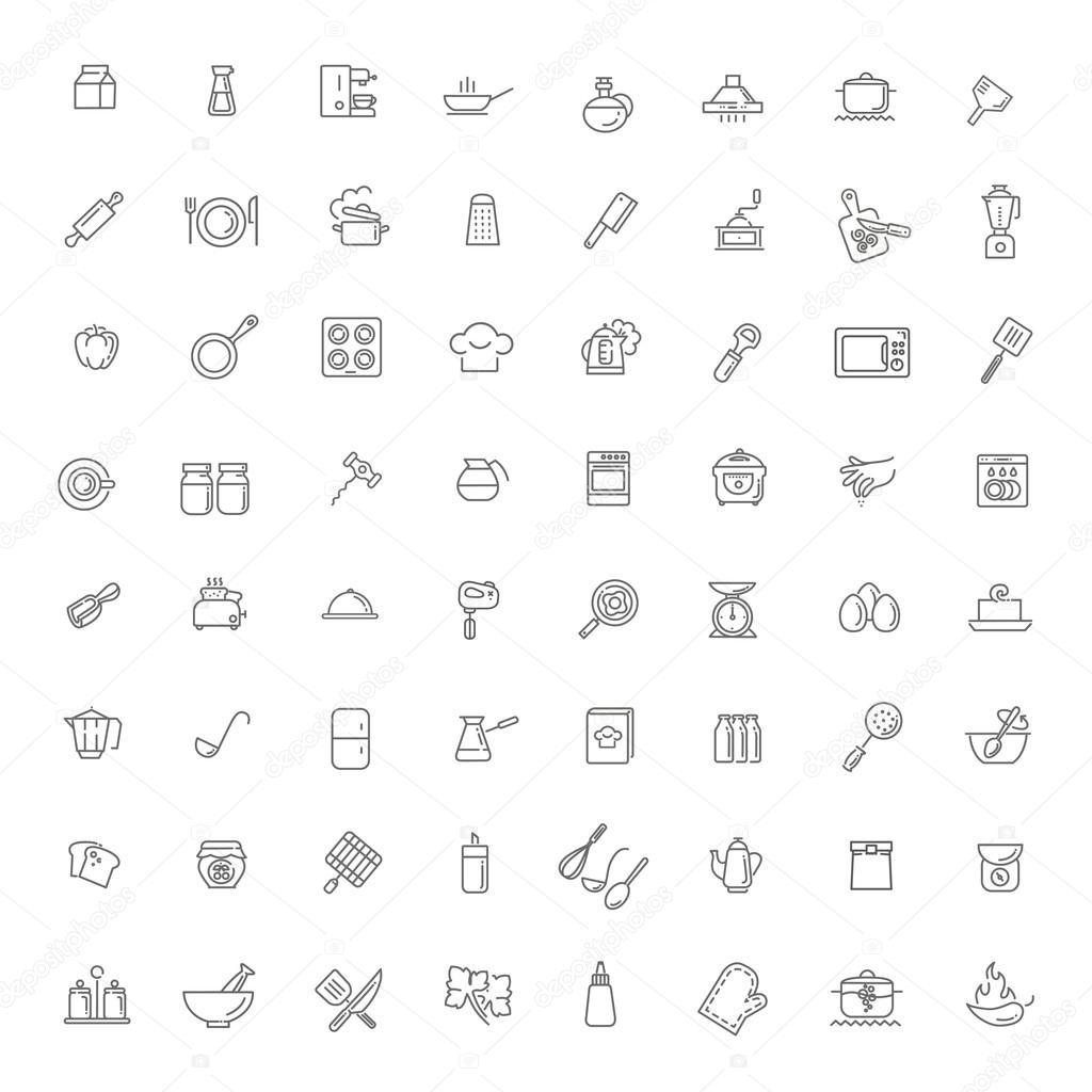 Icon Sammlung Kuchenutensilien Und Geschirr Stockvektor