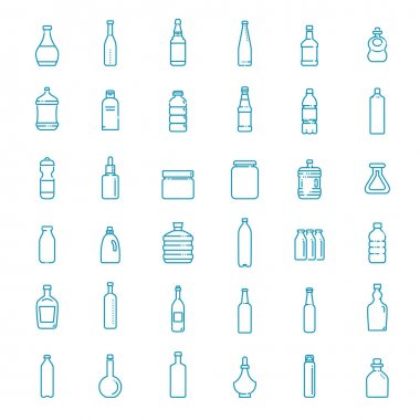 Set of isolated water and alcohol bottle icon on white background icon