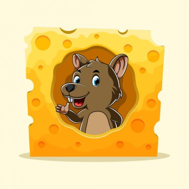 The cartoon of the brown rat standing from the hole cheese with the big smile icon