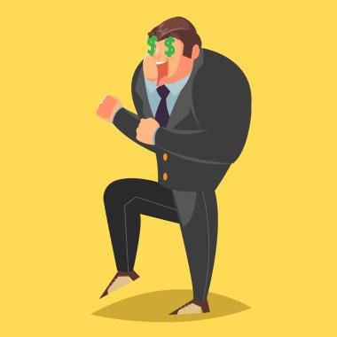 Happy businessman screaming. Cartoon character. Vector illustration