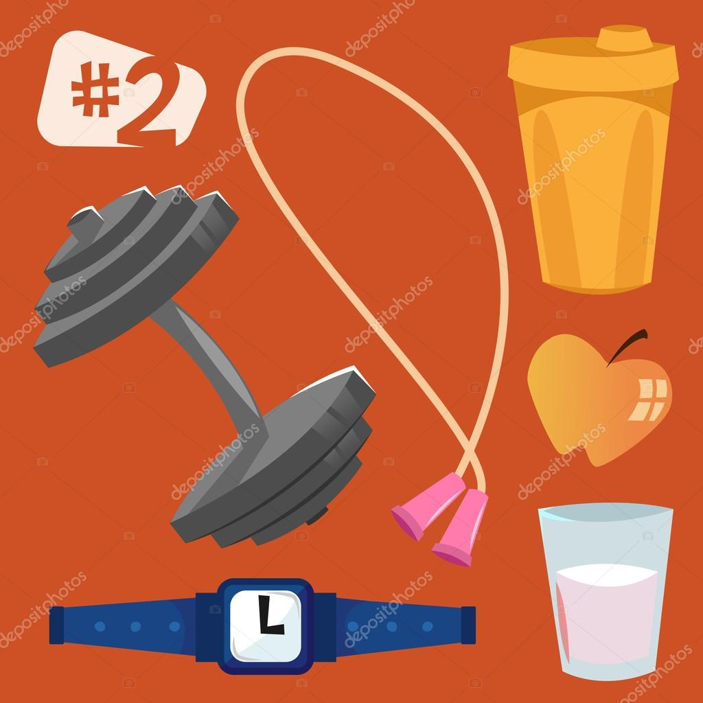 Isolated vector objects. Sports equipment.