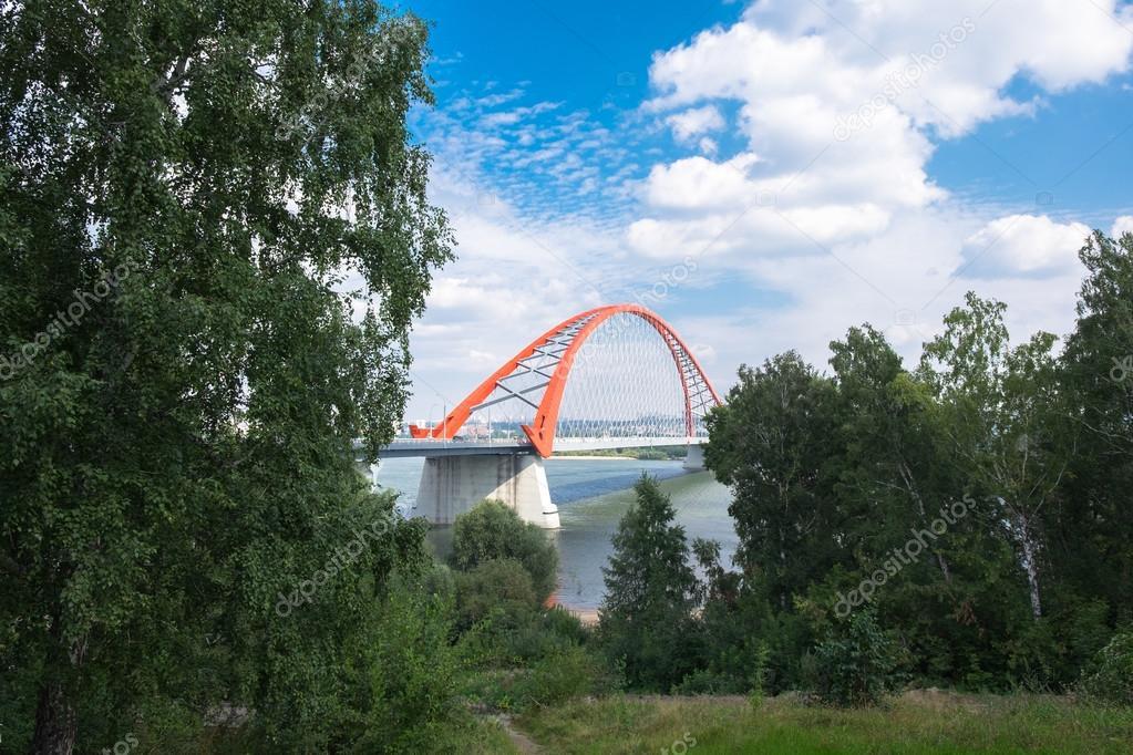 Colorful red bridge in Novosibirsk city