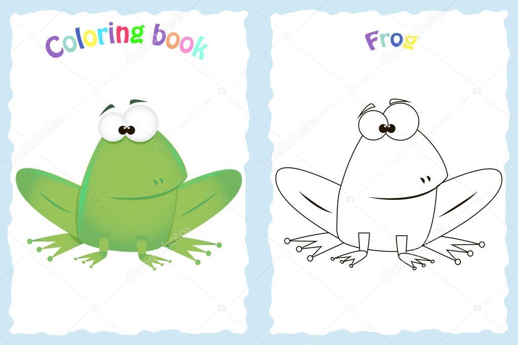 Renkli Kurbağa Olan Okul öncesi çocuklar Için Kitap Sayfa Boyama