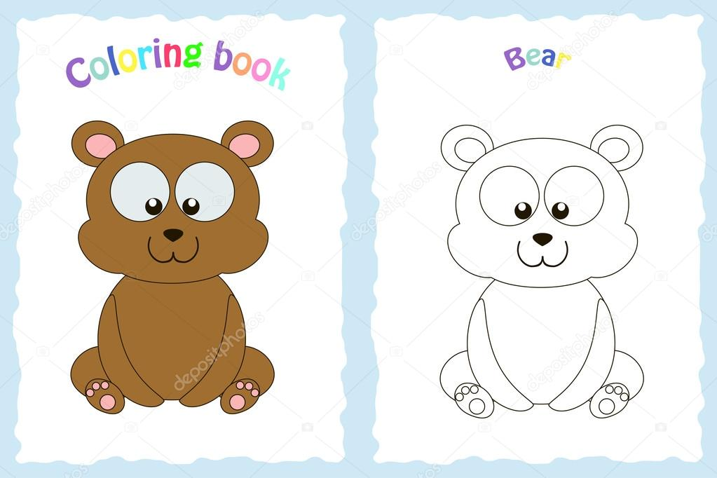 Coloring Book Page For Preschool Children With Colorful Bear