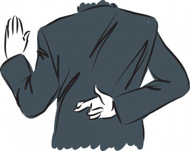 businessman swearing and crossing fingers concept illustration