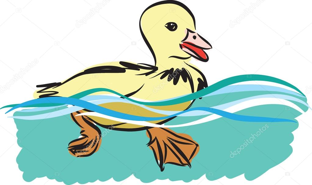 Little Duck Swimming Illustration Stock Vector C Moniqcca 115372898