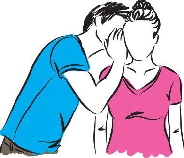 man whispering woman illustration