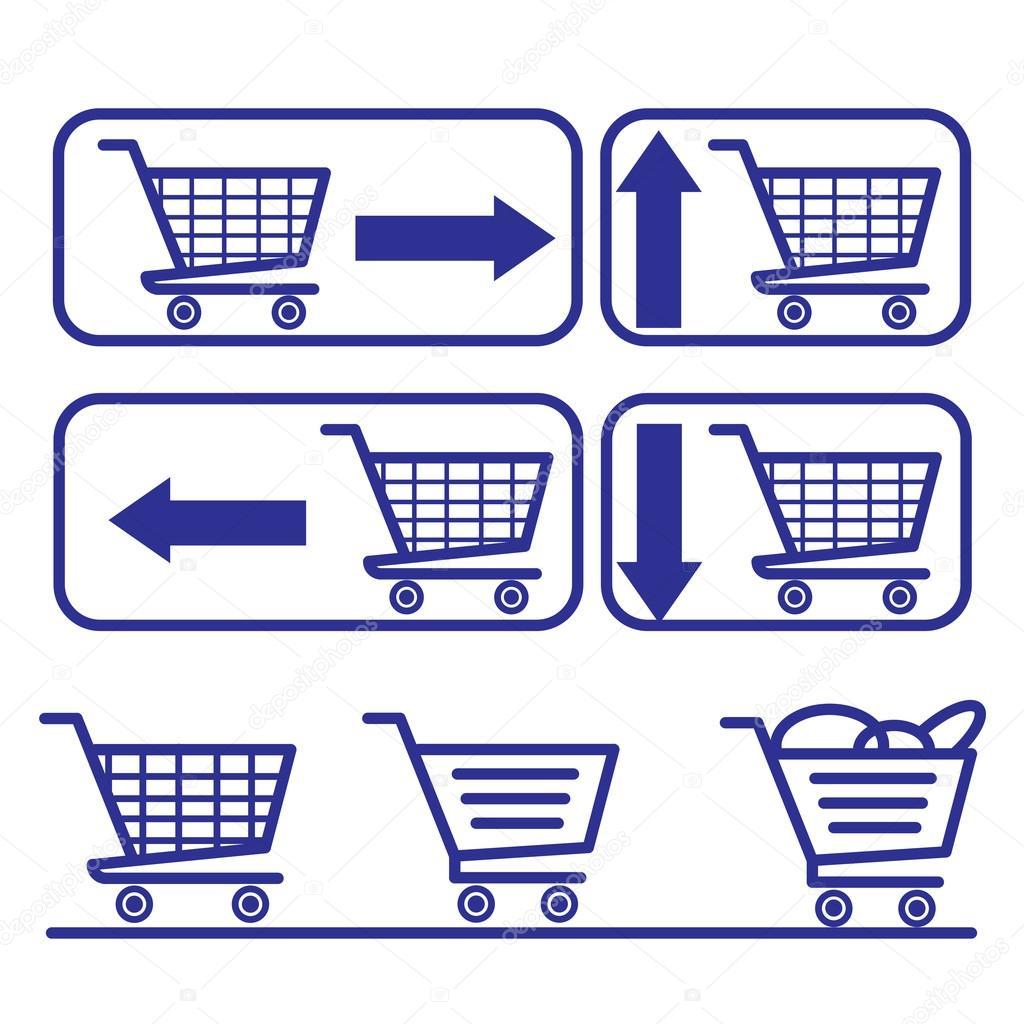 Einkaufswagen und Körbe. Einkaufstaschen und Merchandise-Boxen ...