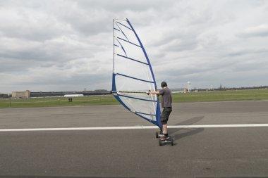 man windskating on the Tempelhof airport