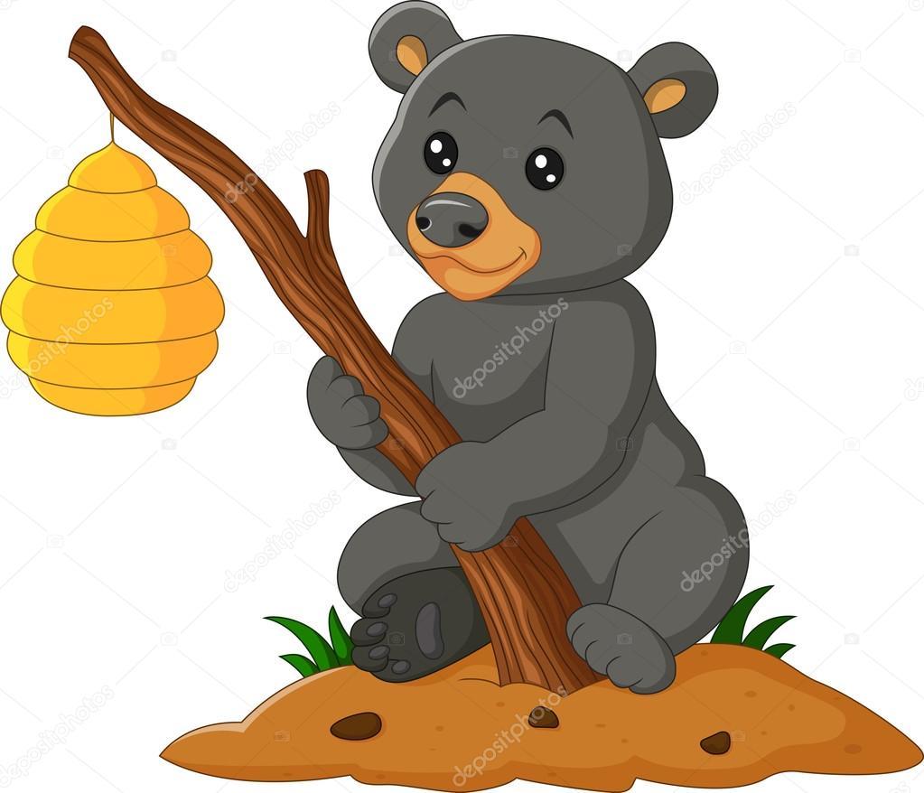 oso de dibujos animados sosteniendo rama con la colmena de la abeja vector de stock