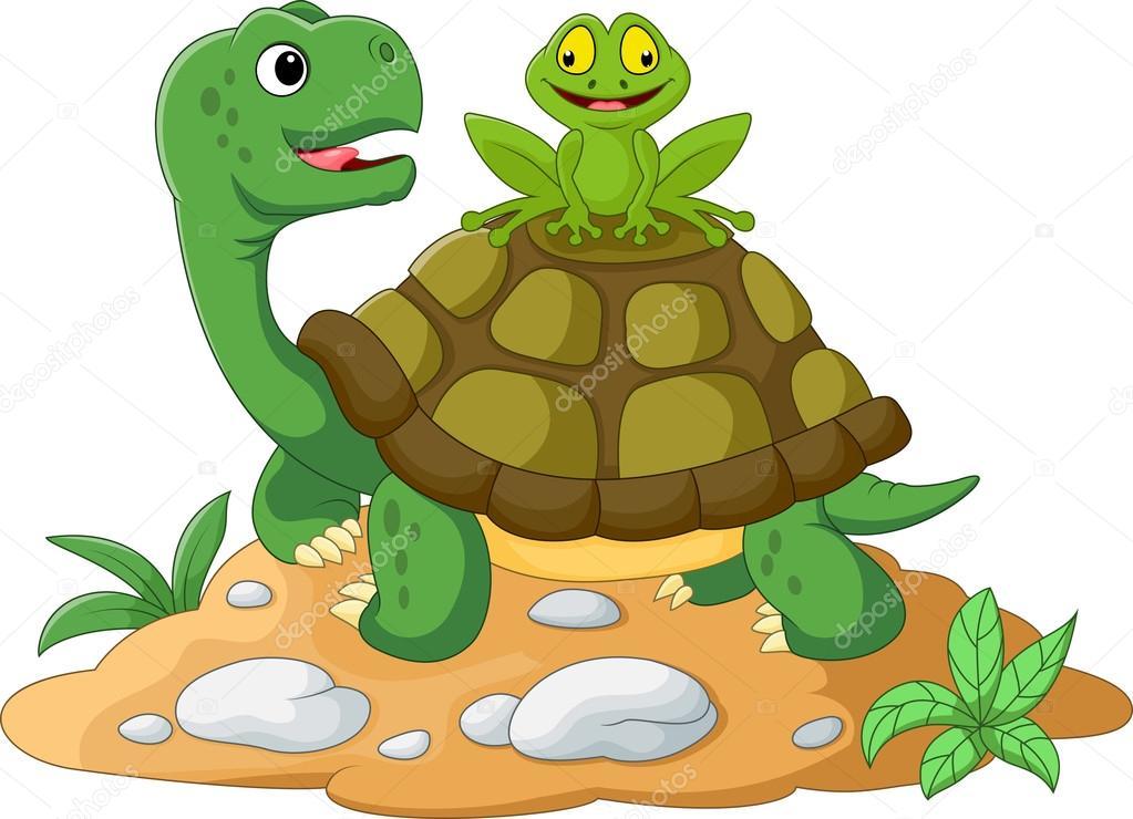 Dibujos Animados De Tortuga Y Rana