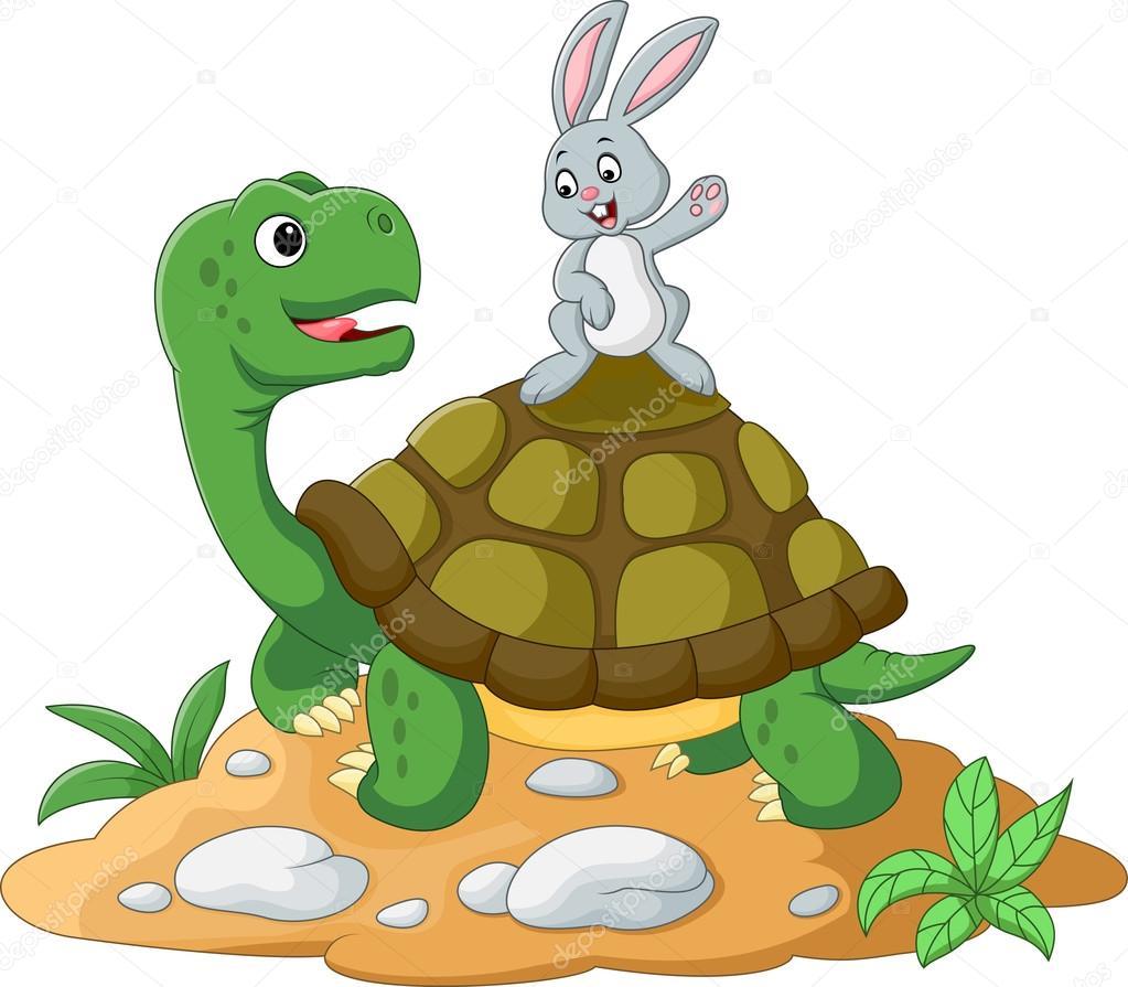 Dibujos animados de tortuga y conejo — Archivo Imágenes Vectoriales ...