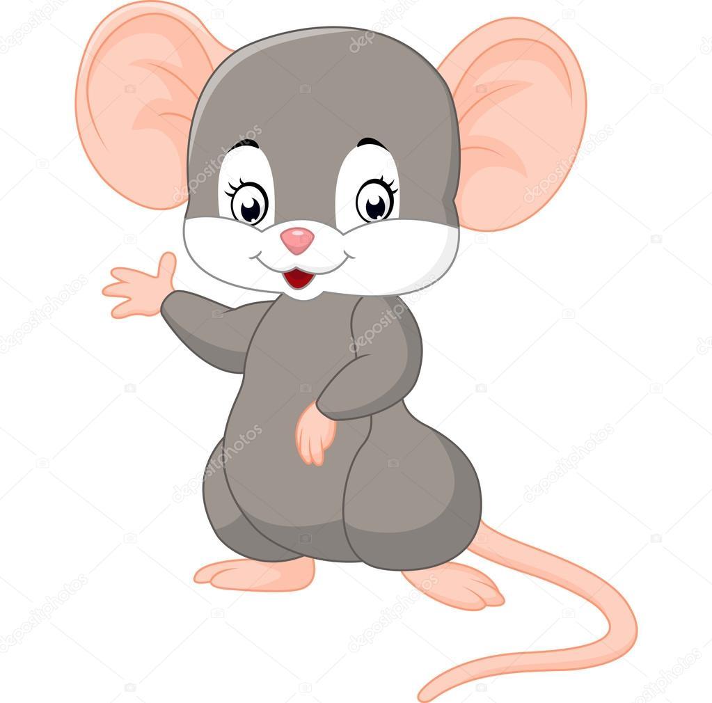 Süße Maus Cartoon Winken Stockvektor Dreamcreation01 123327506