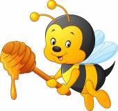 Cartoon-Biene Honig hält