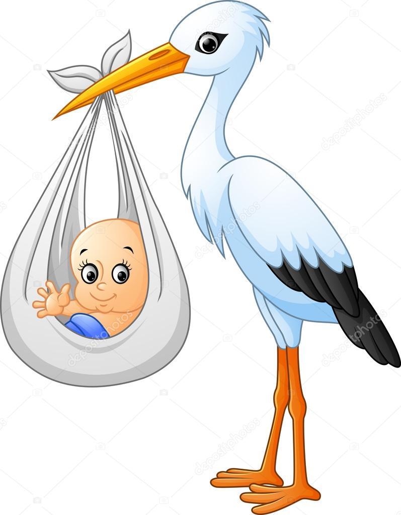 Cartoon storch mit baby stockvektor dreamcreation01 for Immagini vector