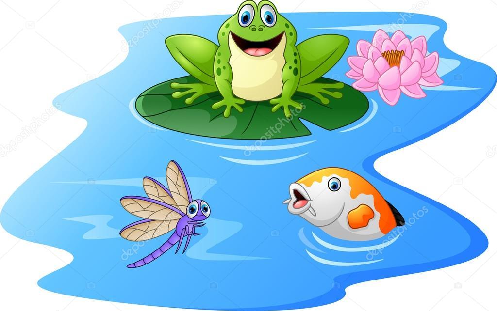 Dessin anim mignon grenouille verte sur une feuille de n nuphar image vectorielle - Nenuphar dessin ...