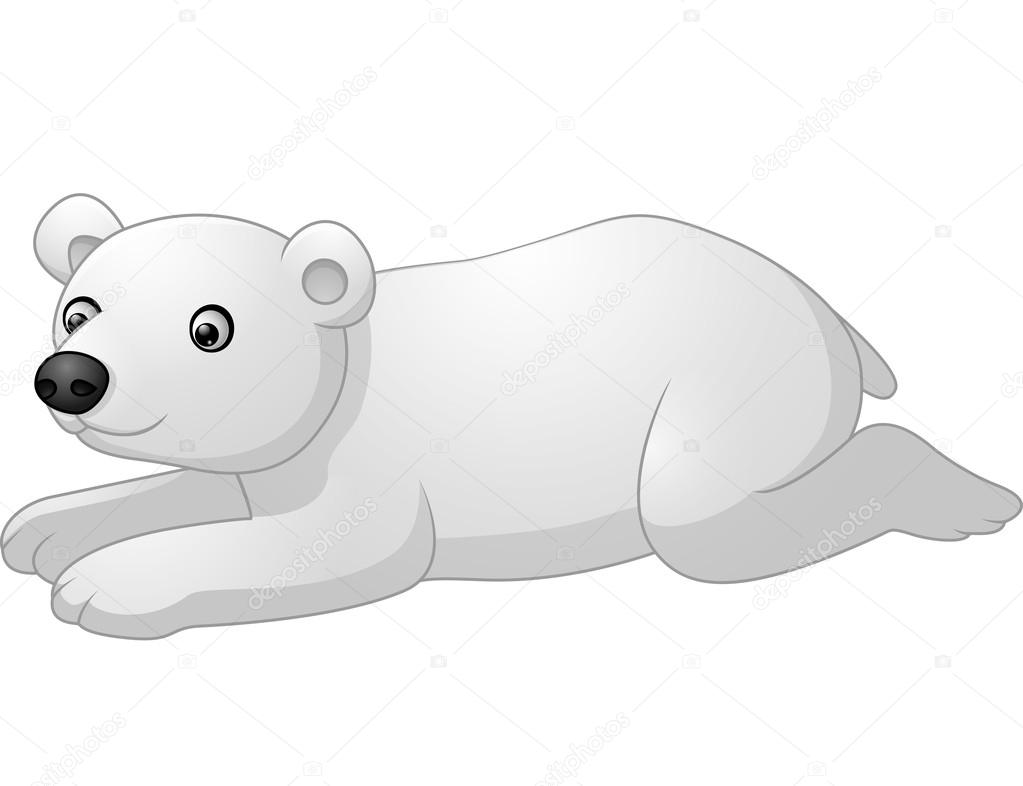 cute polar bear cartoon lay down stock vector 123549404