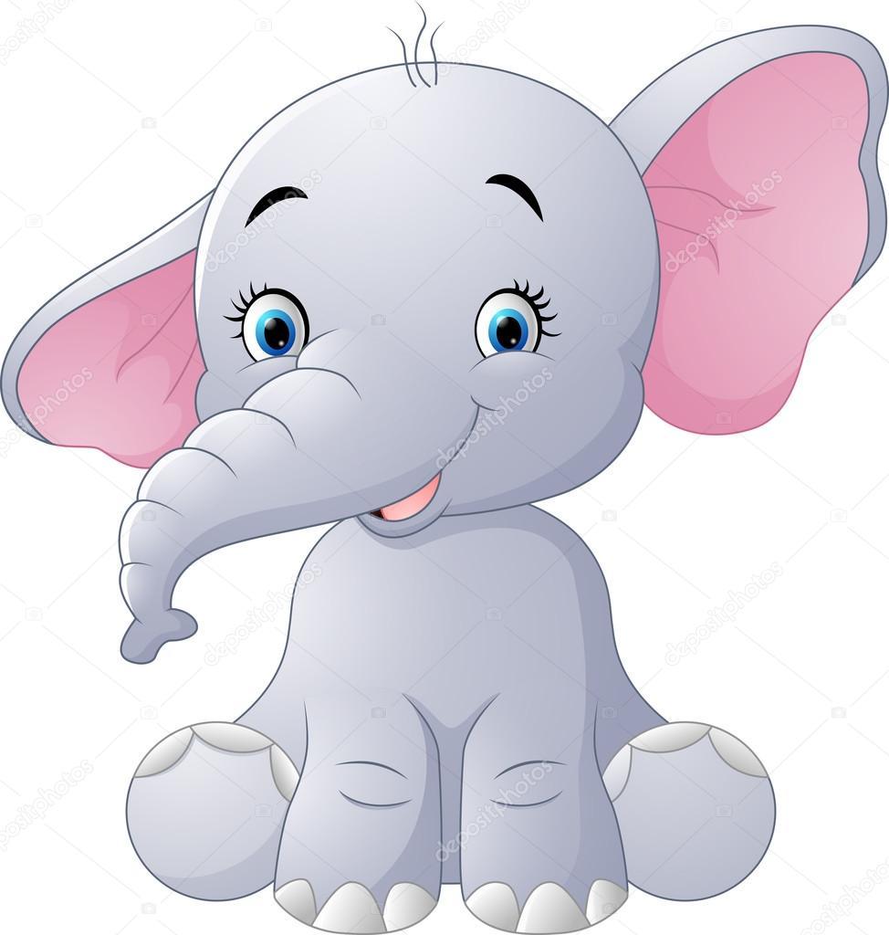 Cute baby elephant sitting isolated on white background ...