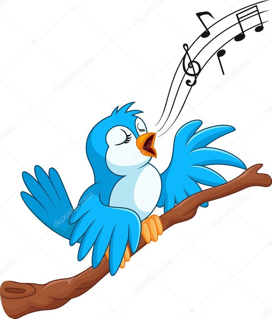 Dessin anim oiseau chante sur la branche image - Dessin oiseau qui chante ...
