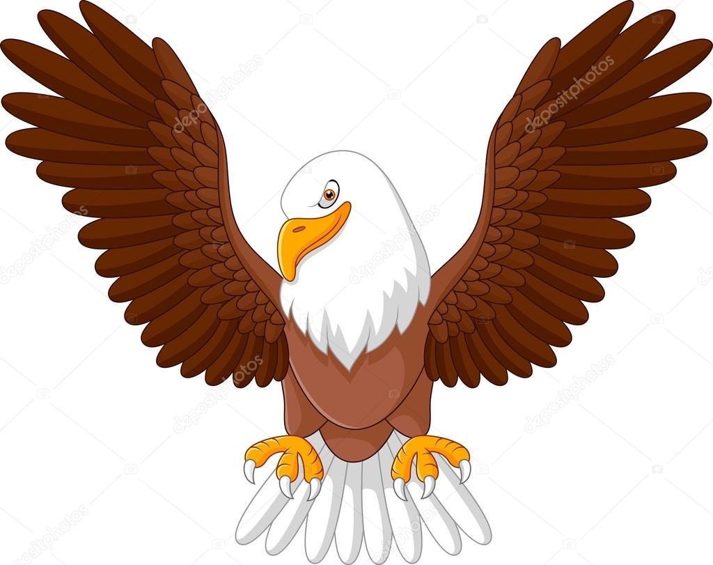 Vuelo de águila de dibujos animados — Vector de stock ...