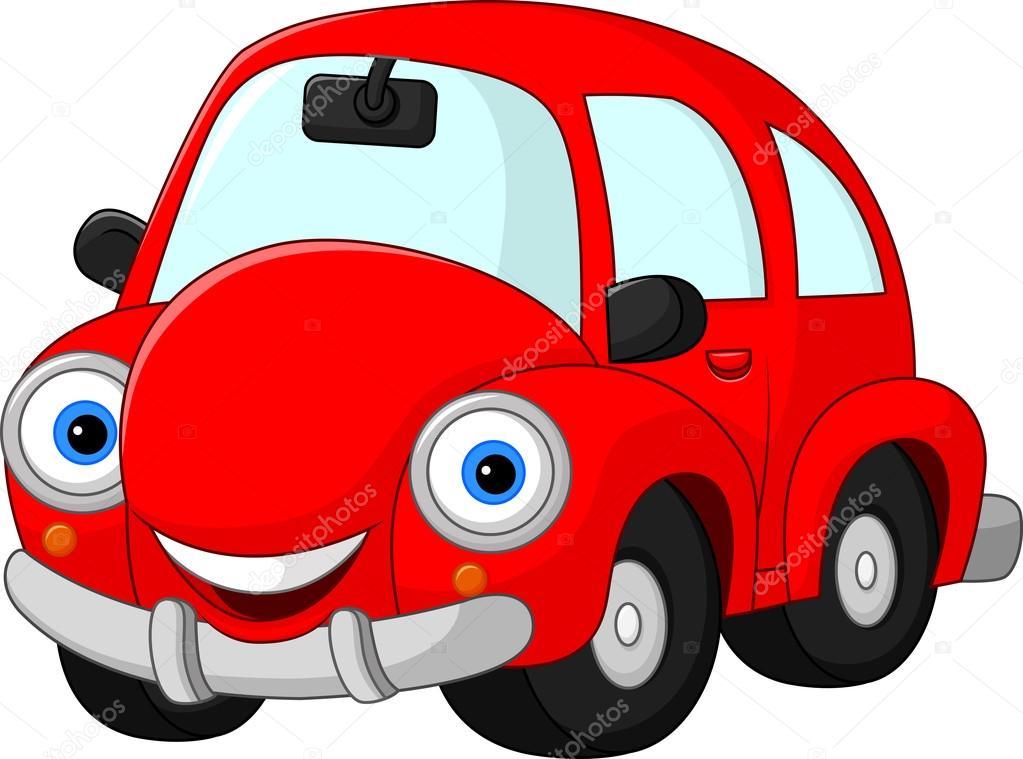 Karikatur Lustige Rote Auto Stockvektor Dreamcreation01 123559160