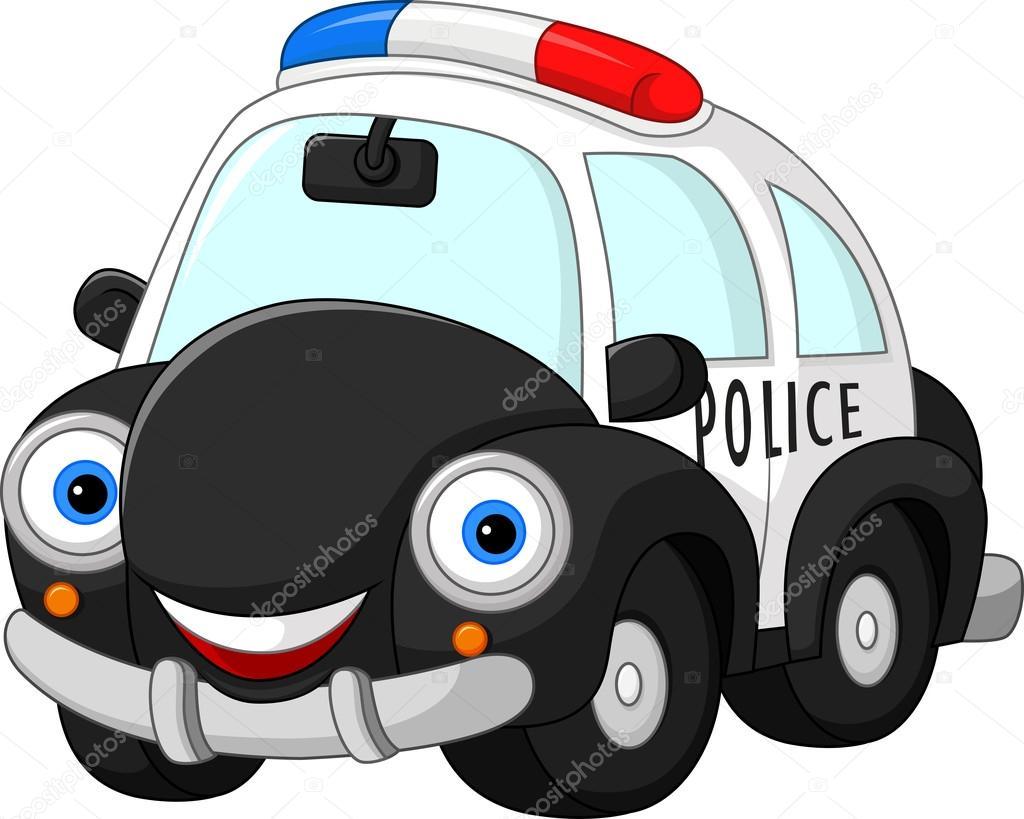 Cartoon Police Car Character Stock Vector C Dreamcreation01