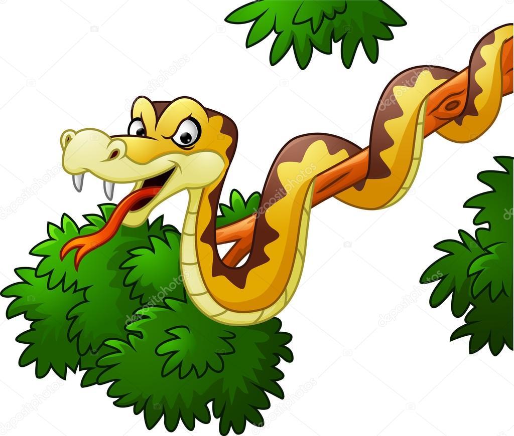 serpiente de dibujos animados en la rama vector de stock