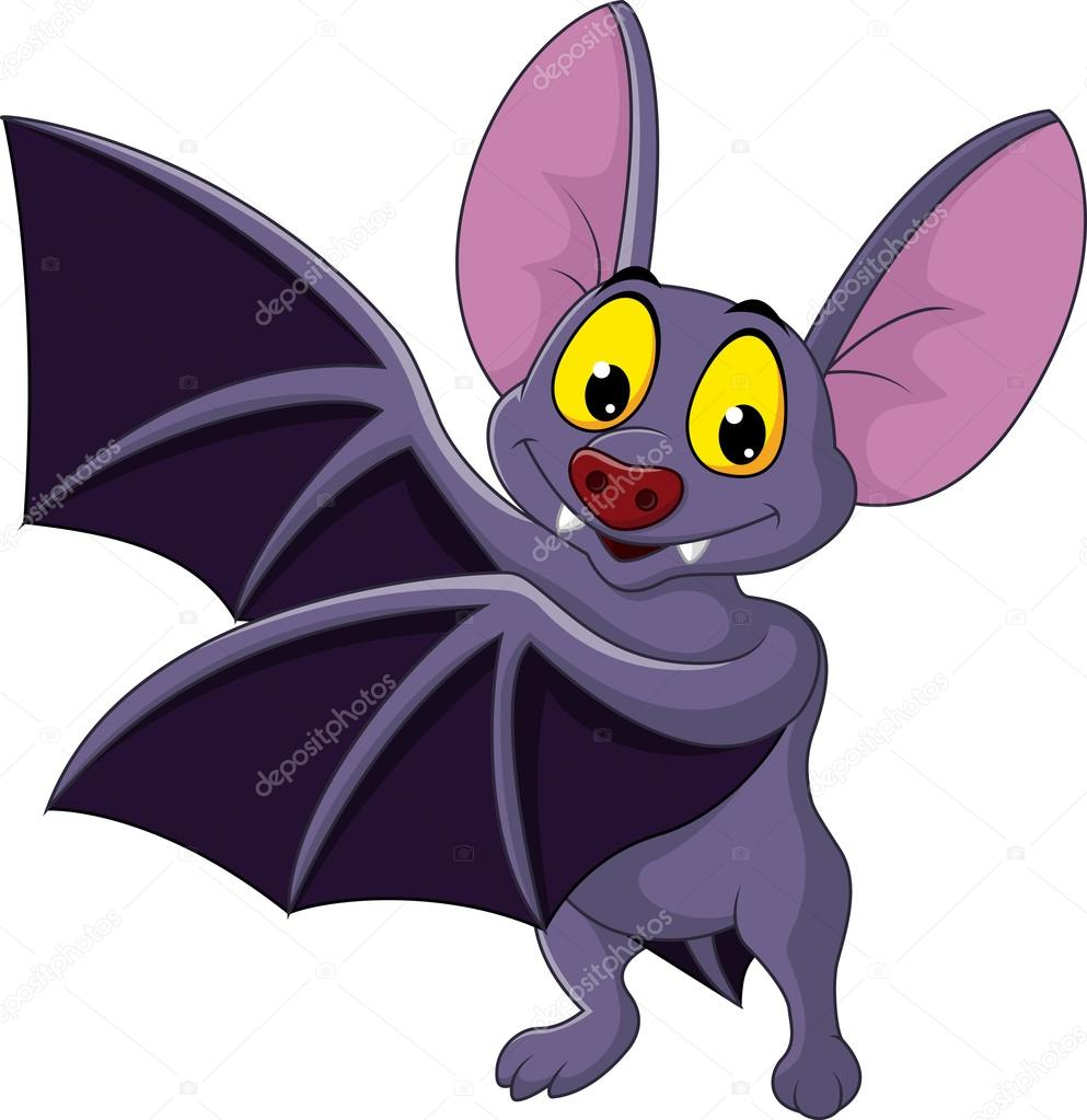Cartone animato di pipistrello volare u vettoriali stock