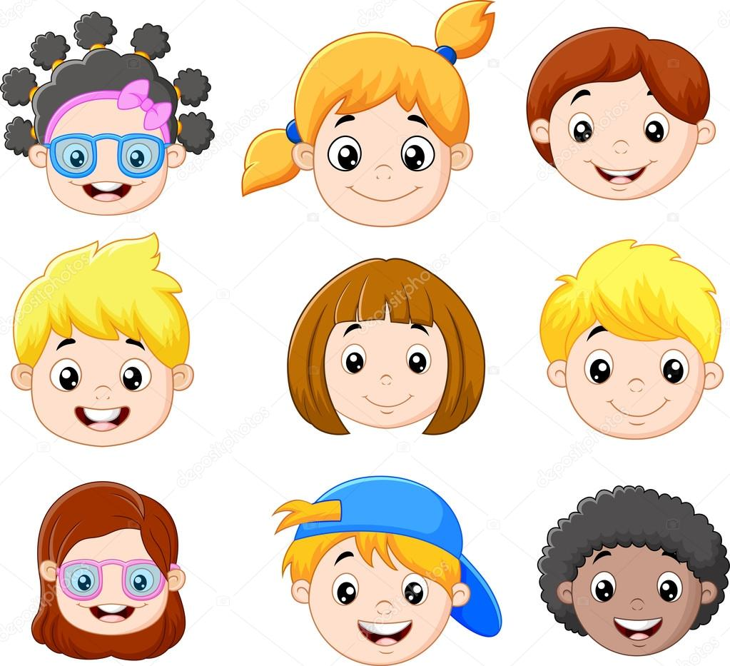 Jeu de t te enfants dessin anim image vectorielle - Image dessin enfant ...