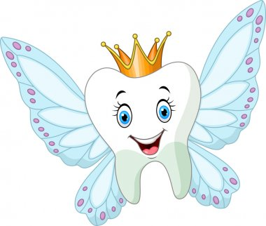 Cute tooth fairy flying