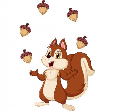 Cartoon funny squirrel juggling acorn