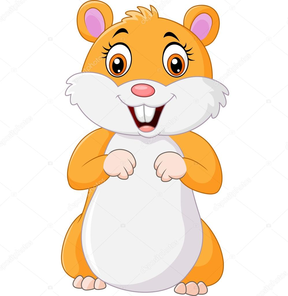cheerful hamster cartoon illustration. image of fat ... Cute Hamster Cartoon