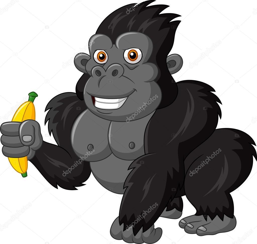 cartoon funny gorilla holding banana u2014 stock vector