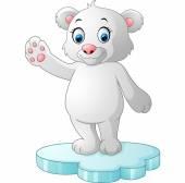 Roztomilý lední medvěd mává