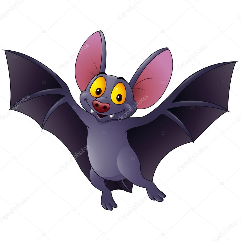 happy bat cartoon flying stock vector - Bat Cartoon