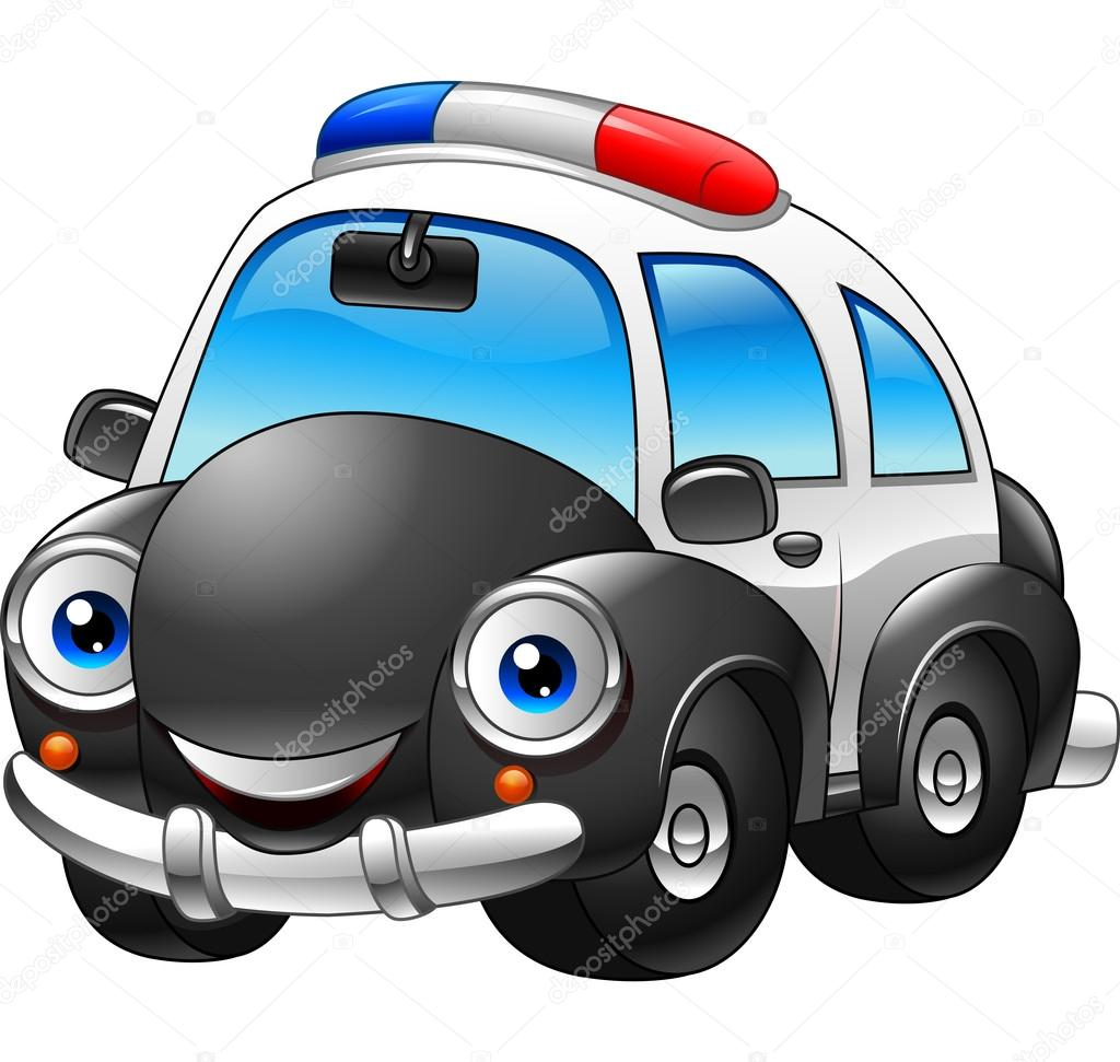 desenho animado de carro de polícia vetor de stock