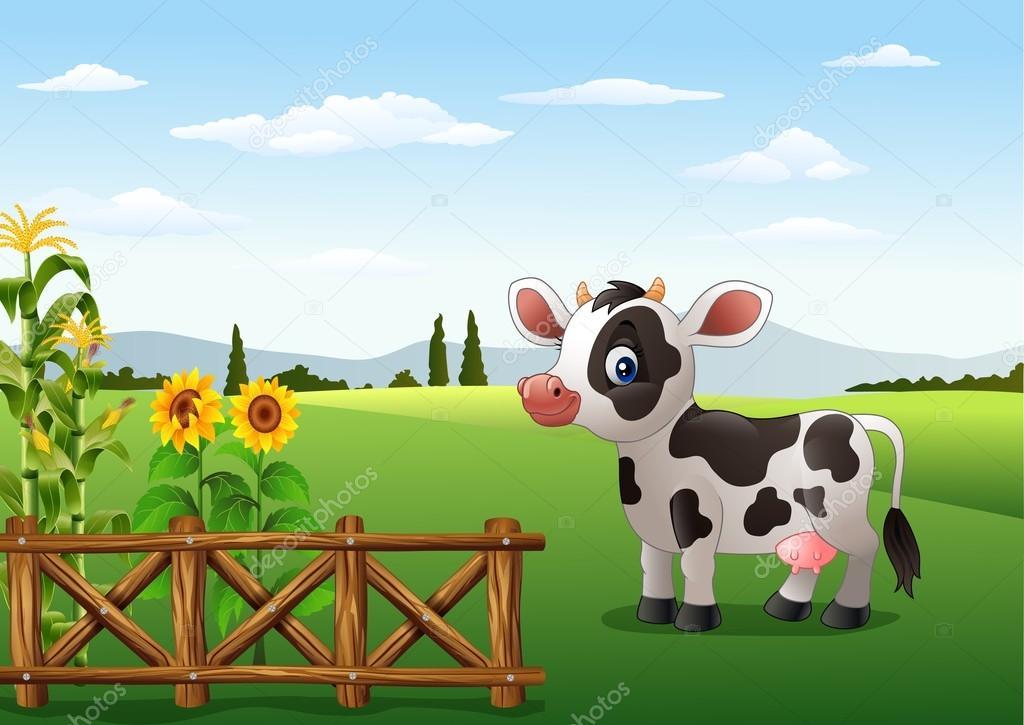 Fondos De Animales Animados: Vaca De Dibujos Animados Con El