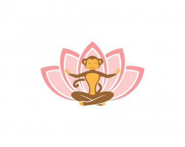 Monkey yoga with lotus flower icon