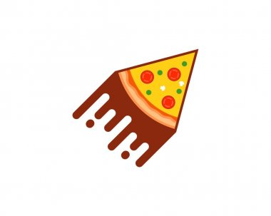 Fast pizza pieces like flying rocket icon