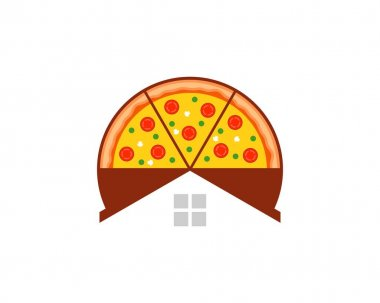 Delicious pizza with simple house icon