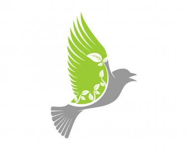 Nature healthy animal with flying bird icon