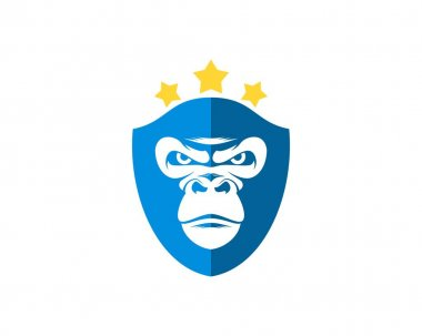 Shield with gorilla face and star icon