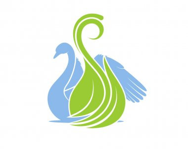 Swimming swan with green leaf icon