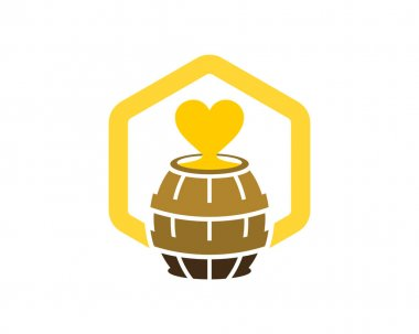 Barrel honey love in the hexagon icon